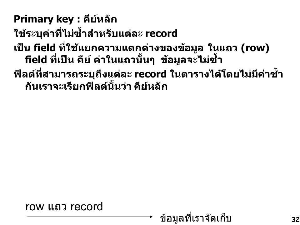 32 Primary key : คีย์หลัก ใช้ระบุค่าที่ไม่ซ้ำสำหรับแต่ละ record เป็น field ที่ใช้แยกความแตกต่างของข้อมูล ในแถว (row) field ที่เป็น คีย์ ค่าในแถวนั้นๆ ข้อมูลจะไม่ซ้ำ ฟิลด์ที่สามารถระบุถึงแต่ละ record ในตารางได้โดยไม่มีค่าซ้ำ กันเราจะเรียกฟิลด์นั้นว่า คีย์หลัก row แถว record ข้อมูลที่เราจัดเก็บ