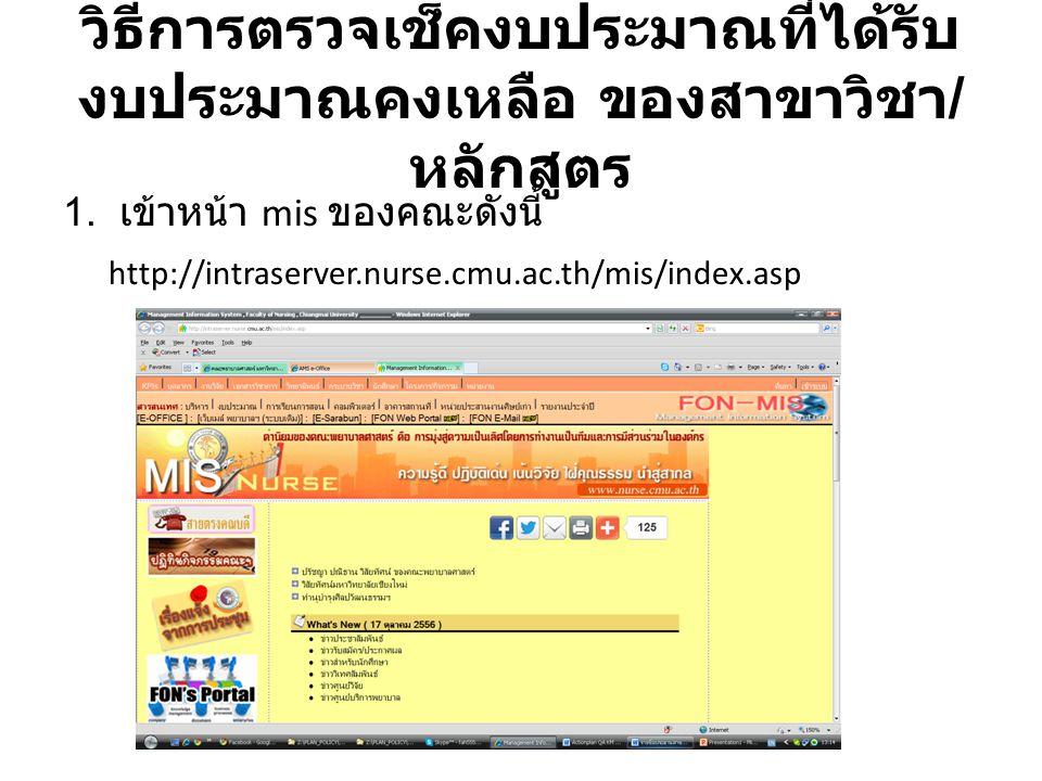 วิธีการตรวจเช็คงบประมาณที่ได้รับ งบประมาณคงเหลือ ของสาขาวิชา / หลักสูตร 1. เข้าหน้า mis ของคณะดังนี้ http://intraserver.nurse.cmu.ac.th/mis/index.asp