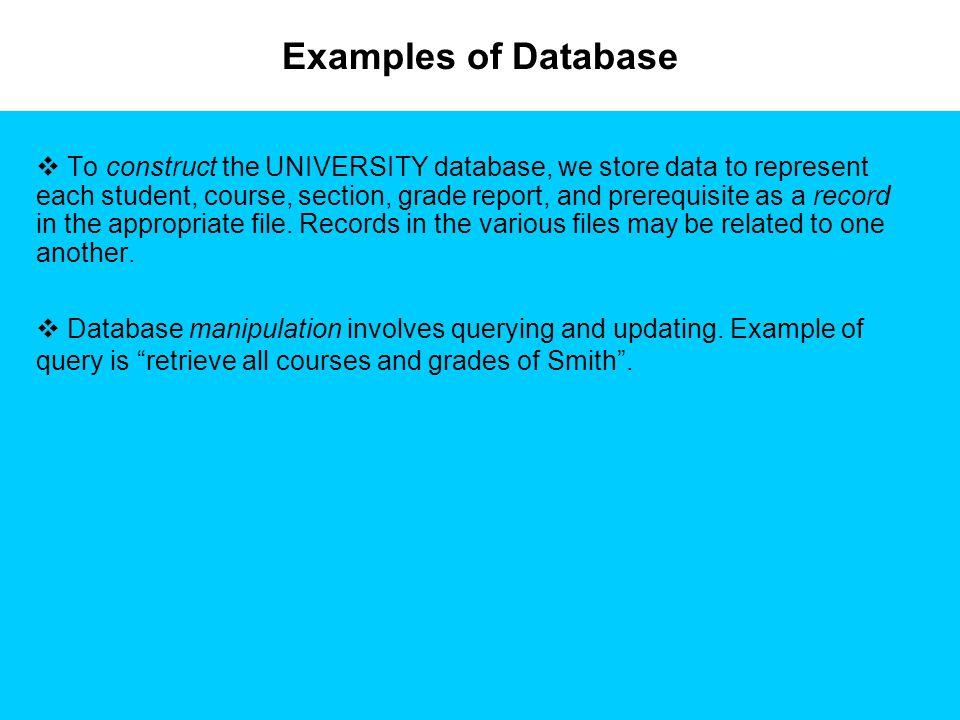 Examples of Database Source: Elmasri R.& Navathe S.B.