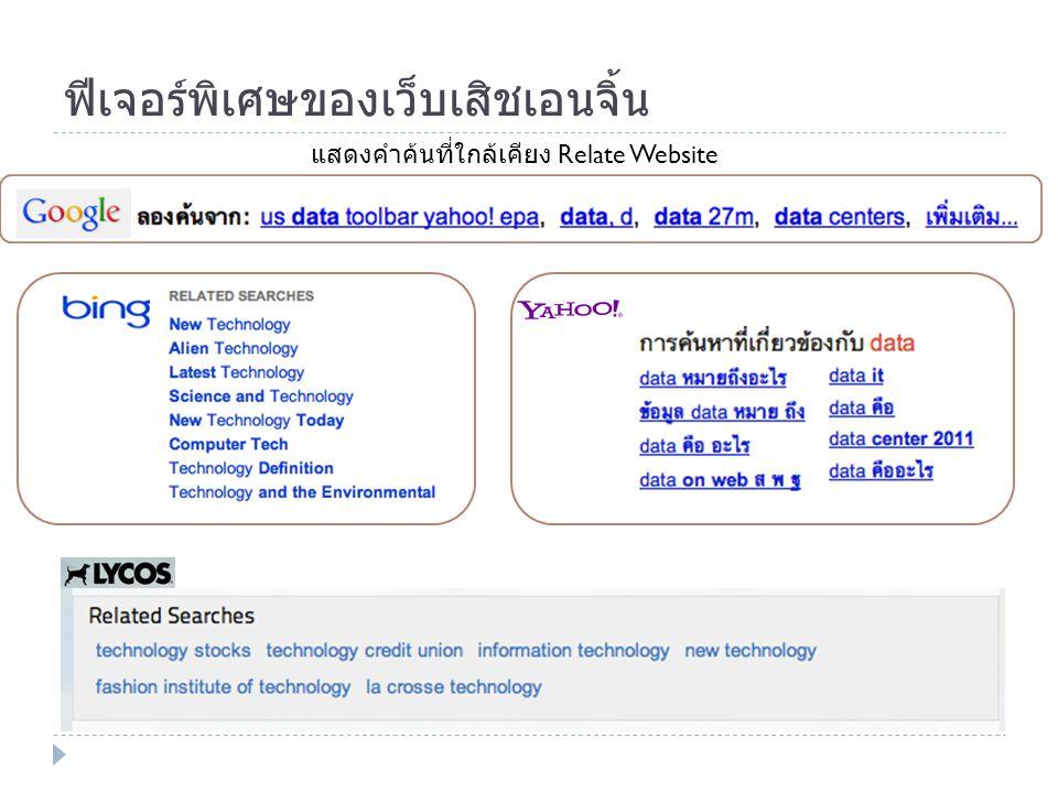 ฟีเจอร์พิเศษของเว็บเสิชเอนจิ้น แสดงคำค้นที่ใกล้เคียง Relate Website