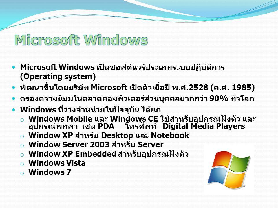 Microsoft Windows เป็นซอฟต์แวร์ประเภทระบบปฏิบัติการ (Operating system) พัฒนาขึ้นโดยบริษัท Microsoft เปิดตัวเมื่อปี พ.ศ.2528 (ค.ศ. 1985) ครองความนิยมใน