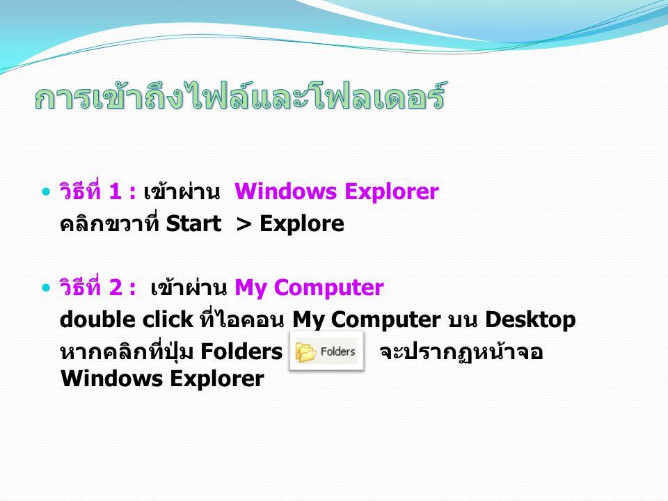วิธีที่ 1 : เข้าผ่าน Windows Explorer คลิกขวาที่ Start > Explore วิธีที่ 2 : เข้าผ่าน My Computer double click ที่ไอคอน My Computer บน Desktop หากคลิก