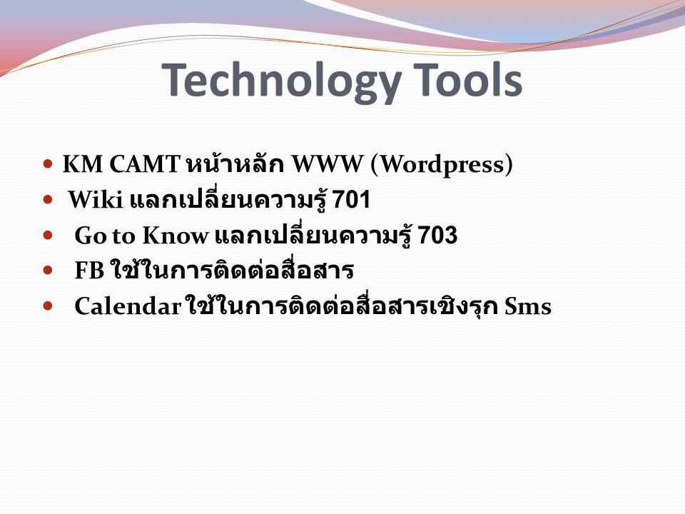 Technology Tools KM CAMT หน้าหลัก WWW (Wordpress) Wiki แลกเปลี่ยนความรู้ 701 Go to Know แลกเปลี่ยนความรู้ 703 FB ใช้ในการติดต่อสื่อสาร Calendar ใช้ในก