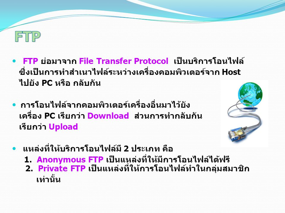 FTP ย่อมาจาก File Transfer Protocol เป็นบริการโอนไฟล์ ซึ่งเป็นการทำสำเนาไฟล์ระหว่างเครื่องคอมพิวเตอร์จาก Host ไปยัง PC หรือ กลับกัน การโอนไฟล์จากคอมพิ