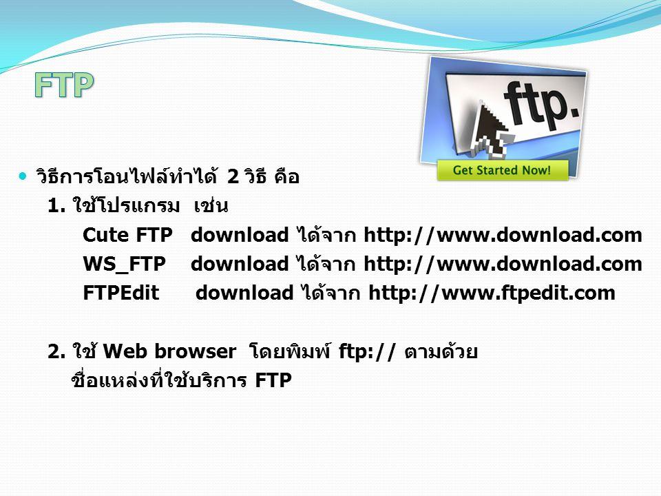 วิธีการโอนไฟล์ทำได้ 2 วิธี คือ 1. ใช้โปรแกรม เช่น Cute FTP download ได้จาก http://www.download.com WS_FTP download ได้จาก http://www.download.com FTPE