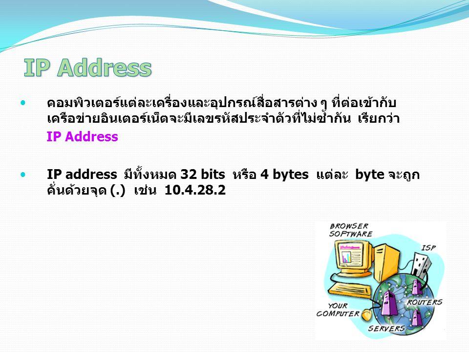 คอมพิวเตอร์แต่ละเครื่องและอุปกรณ์สื่อสารต่าง ๆ ที่ต่อเข้ากับ เครือข่ายอินเตอร์เน็ตจะมีเลขรหัสประจำตัวที่ไม่ซ้ำกัน เรียกว่า IP Address IP address มีทั้งหมด 32 bits หรือ 4 bytes แต่ละ byte จะถูก คั่นด้วยจุด (.) เช่น 10.4.28.2