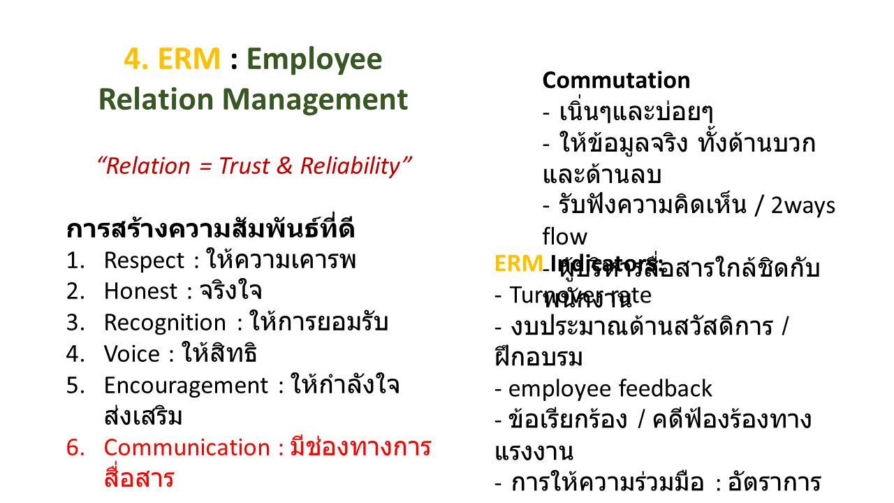 "4. ERM : Employee Relation Management ""Relation = Trust & Reliability"" การสร้างความสัมพันธ์ที่ดี 1.Respect : ให้ความเคารพ 2.Honest : จริงใจ 3.Recognit"