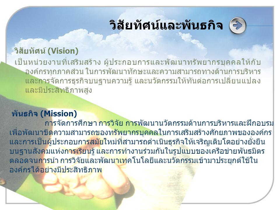 วิสัยทัศน์และพันธกิจ วิสัยทัศน์ (Vision) เป็นหน่วยงานที่เสริมสร้าง ผู้ประกอบการและพัฒนาทรัพยากรบุคคลให้กับ องค์กรทุกภาคส่วน ในการพัฒนาทักษะและความสามา