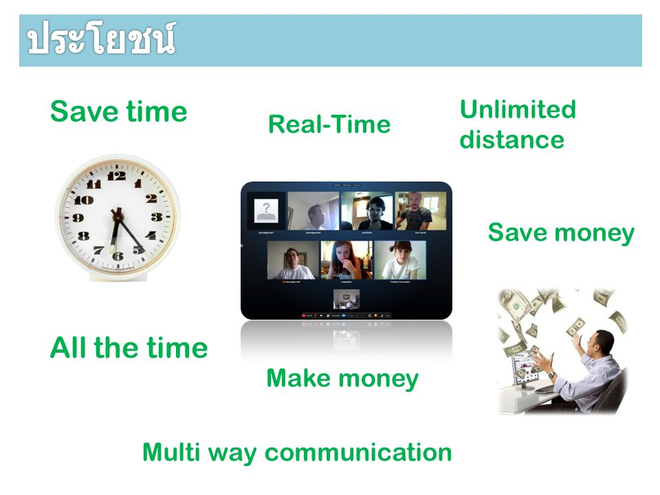 Save time All the time Real-Time Make money Save money Unlimited distance Multi way communication