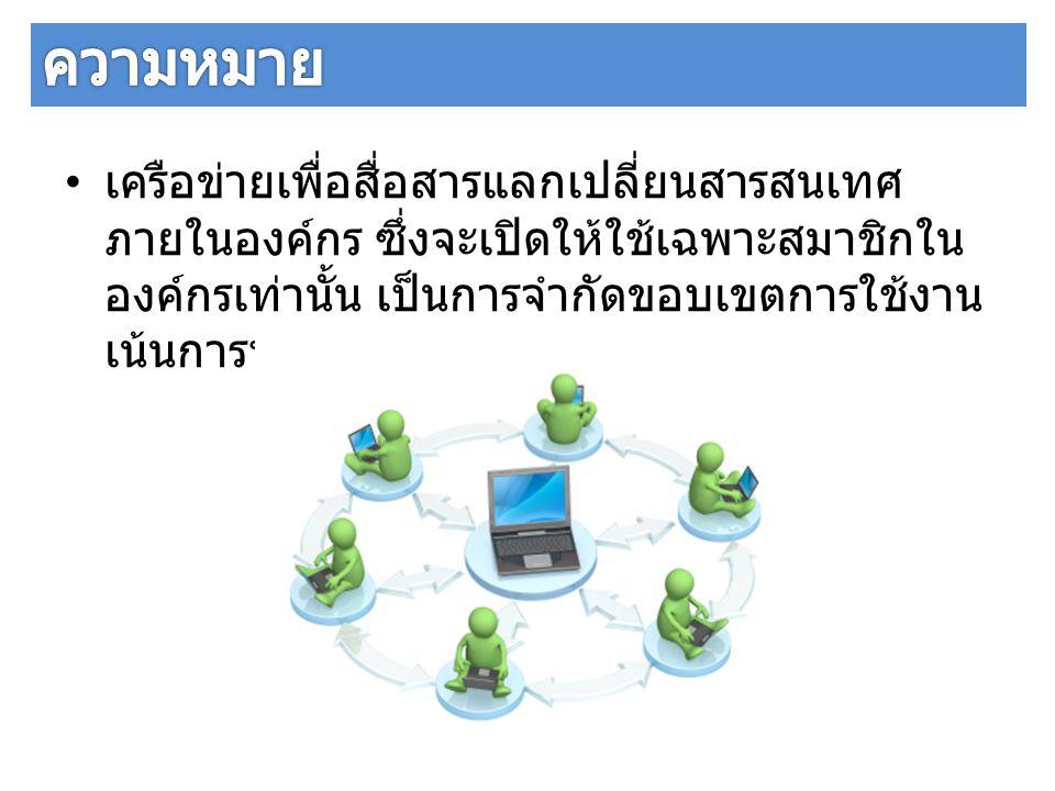 เครือข่ายเพื่อสื่อสารแลกเปลี่ยนสารสนเทศ ภายในองค์กร ซึ่งจะเปิดให้ใช้เฉพาะสมาชิกใน องค์กรเท่านั้น เป็นการจำกัดขอบเขตการใช้งาน เน้นการทำงานร่วมกัน (work