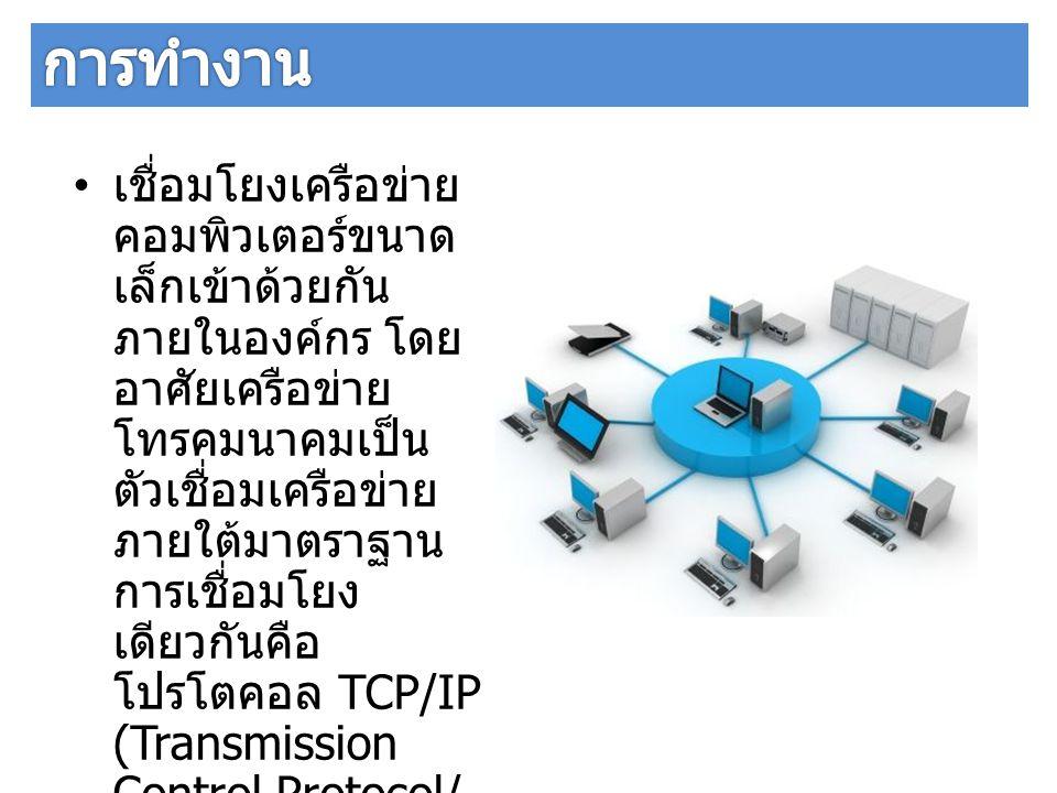 เชื่อมโยงเครือข่าย คอมพิวเตอร์ขนาด เล็กเข้าด้วยกัน ภายในองค์กร โดย อาศัยเครือข่าย โทรคมนาคมเป็น ตัวเชื่อมเครือข่าย ภายใต้มาตราฐาน การเชื่อมโยง เดียวกั