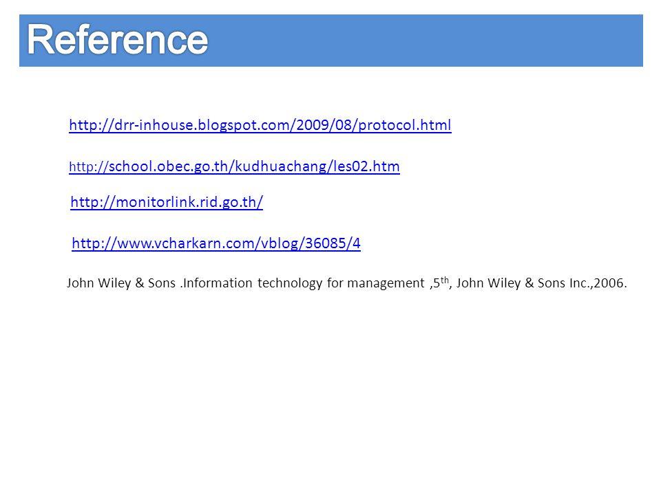 http://drr-inhouse.blogspot.com/2009/08/protocol.html http:// school.obec.go.th/kudhuachang/les02.htm http://monitorlink.rid.go.th/ http://www.vcharka
