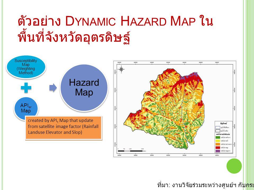 ตัวอย่าง D YNAMIC H AZARD M AP ใน พื้นที่จังหวัดอุตรดิษฐ์ Susceptibility Map (Weighting Method) APIer Map Hazard Map created by API t Map that update