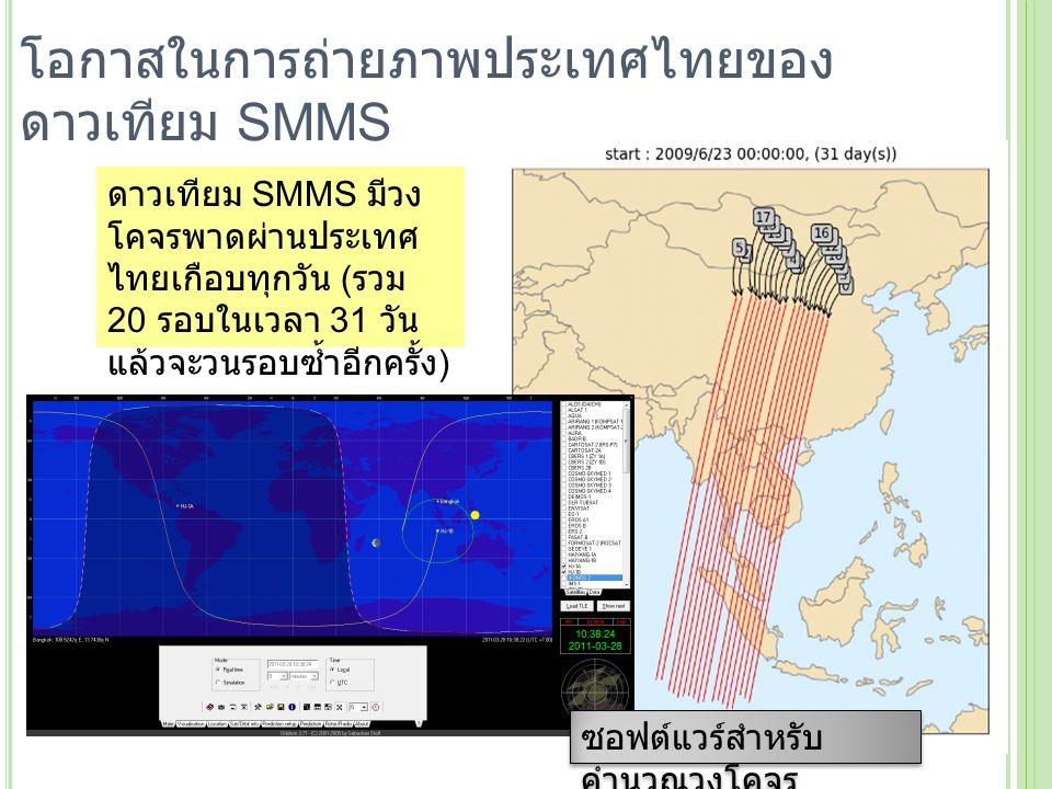 โอกาสในการถ่ายภาพประเทศไทยของ ดาวเทียม SMMS ดาวเทียม SMMS มีวง โคจรพาดผ่านประเทศ ไทยเกือบทุกวัน ( รวม 20 รอบในเวลา 31 วัน แล้วจะวนรอบซ้ำอีกครั้ง ) ซอฟ