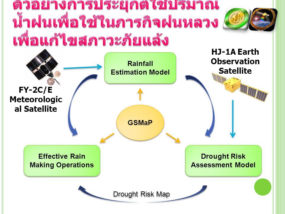 GSMaP Rainfall Estimation Model Drought Risk Assessment Model Effective Rain Making Operations Drought Risk Map FY-2C/E Meteorologic al Satellite HJ-1