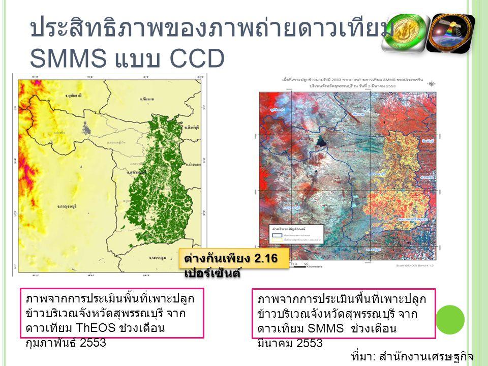 ประสิทธิภาพของภาพถ่ายดาวเทียม SMMS แบบ CCD กรมทรัพยากรน้ำ นำไปใช้ทดแทน ข้อมูลดาวเทียม LANDSAT และ MODIS เพื่อวิเคราะห์ความแห้งแล้ง ของพื้นที่ ซอฟต์แวร์ประมวลผล ข้อมูลความแห้งแล้งของ พื้นที่ ที่มา : กรม ทรัพยากรน้ำ