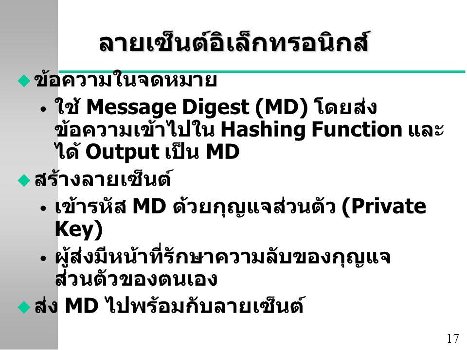 17 ลายเซ็นต์อิเล็กทรอนิกส์ u ข้อความในจดหมาย ใช้ Message Digest (MD) โดยส่ง ข้อความเข้าไปใน Hashing Function และ ได้ Output เป็น MD u สร้างลายเซ็นต์ เข้ารหัส MD ด้วยกุญแจส่วนตัว (Private Key) ผู้ส่งมีหน้าที่รักษาความลับของกุญแจ ส่วนตัวของตนเอง u ส่ง MD ไปพร้อมกับลายเซ็นต์