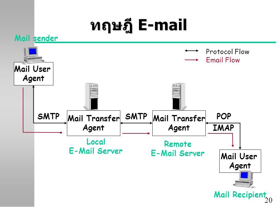 20 ทฤษฎี E-mail Mail User Agent Email Server Mail sender Mail Transfer Agent Mail Recipient SMTP POP IMAP Local E-Mail Server Remote E-Mail Server Mai