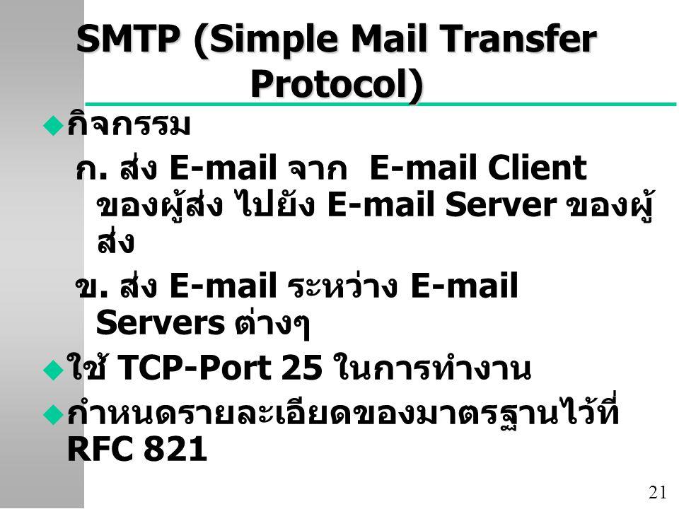 21 SMTP (Simple Mail Transfer Protocol) u กิจกรรม ก. ส่ง E-mail จาก E-mail Client ของผู้ส่ง ไปยัง E-mail Server ของผู้ ส่ง ข. ส่ง E-mail ระหว่าง E-mai