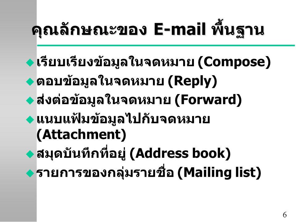 6 คุณลักษณะของ E-mail พื้นฐาน u เรียบเรียงข้อมูลในจดหมาย (Compose) u ตอบข้อมูลในจดหมาย (Reply) u ส่งต่อข้อมูลในจดหมาย (Forward) u แนบแฟ้มข้อมูลไปกับจดหมาย (Attachment) u สมุดบันทึกที่อยู่ (Address book) u รายการของกลุ่มรายชื่อ (Mailing list)