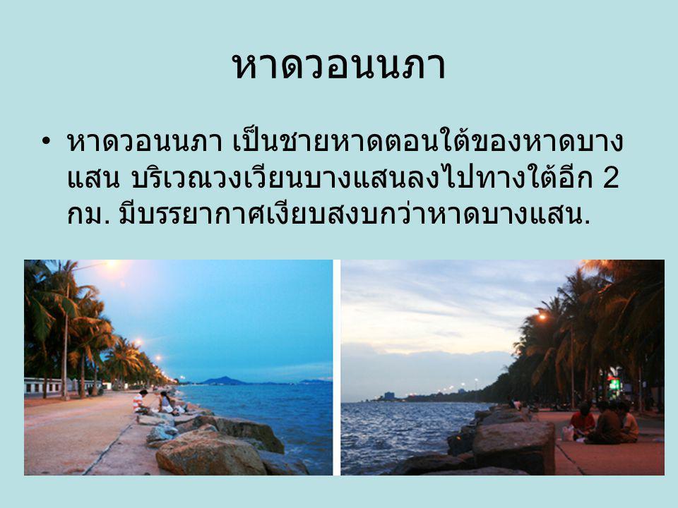หาดวอนนภา หาดวอนนภา เป็นชายหาดตอนใต้ของหาดบาง แสน บริเวณวงเวียนบางแสนลงไปทางใต้อีก 2 กม. มีบรรยากาศเงียบสงบกว่าหาดบางแสน.