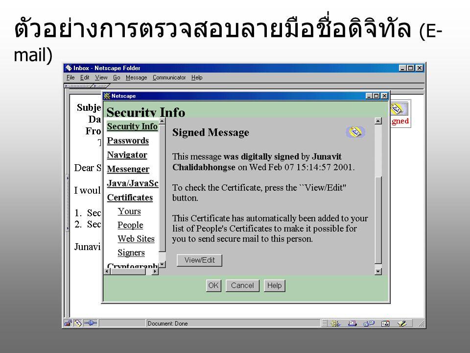 ตัวอย่างการตรวจสอบลายมือชื่อดิจิทัล (E- mail)