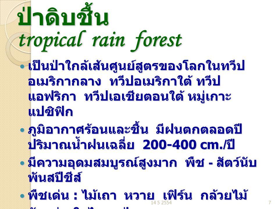 ป่าดิบชื้น tropical rain forest เป็นป่าใกล้เส้นศูนย์สูตรของโลกในทวีป อเมริกากลาง ทวีปอเมริกาใต้ ทวีป แอฟริกา ทวีปเอเชียตอนใต้ หมู่เกาะ แปซิฟิก เป็นป่าใกล้เส้นศูนย์สูตรของโลกในทวีป อเมริกากลาง ทวีปอเมริกาใต้ ทวีป แอฟริกา ทวีปเอเชียตอนใต้ หมู่เกาะ แปซิฟิก ภูมิอากาศร้อนและชื้น มีฝนตกตลอดปี ปริมาณน้ำฝนเฉลี่ย 200-400 cm./ ปี ภูมิอากาศร้อนและชื้น มีฝนตกตลอดปี ปริมาณน้ำฝนเฉลี่ย 200-400 cm./ ปี มีความอุดมสมบูรณ์สูงมาก พืช - สัตว์นับ พันสปีชีส์ มีความอุดมสมบูรณ์สูงมาก พืช - สัตว์นับ พันสปีชีส์ พืชเด่น : ไม้เถา หวาย เฟิร์น กล้วยไม้ พืชเด่น : ไม้เถา หวาย เฟิร์น กล้วยไม้ ตัวอย่างในไทย ป่าฮาลา – บาลา นราธิวาส ตัวอย่างในไทย ป่าฮาลา – บาลา นราธิวาส 14 5 25547
