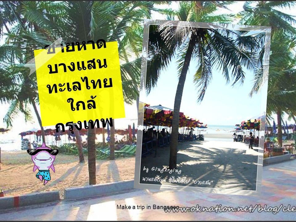 หาดบางแสน ชายหาดที่มีชื่อเสียงมา ช้านานของจังหวัด ชลบุรี อยู่ห่างจากตัว เมืองชลบุรีเพียง 10 กิโลเมตร แยกขวาจาก ถนนสุขุมวิทตรงหลัก กิโลเมตรที่ 104 เข้า ไป 3 กิโลเมตร เป็น ทางลาดยางตลอด ใน บริเวณหาดมี เครี่องดื่ม และอาหาร ทะเลประเภทของกิน เล่นหาบมาขาย Make a trip in Bangsaen เช่น ปลาหมึก หอยแมลงภู่ ห่อหมก ฯลฯ มีเก้าอี้ผ้าใบ ลูกยาง ว่าย น้ำให้เช่า มีห้องอาบน้ำจืด ไว้บริการ ร้านอาหาร หลายแห่งเรียงรายอยู่ริม หาด หาดบางแสนเหมาะ สำหรับ นักท่องเที่ยว ที่มี เวลาน้อยที่ต้องการพา ครอบครัวไปพักผ่อนเพียง วันเดียว