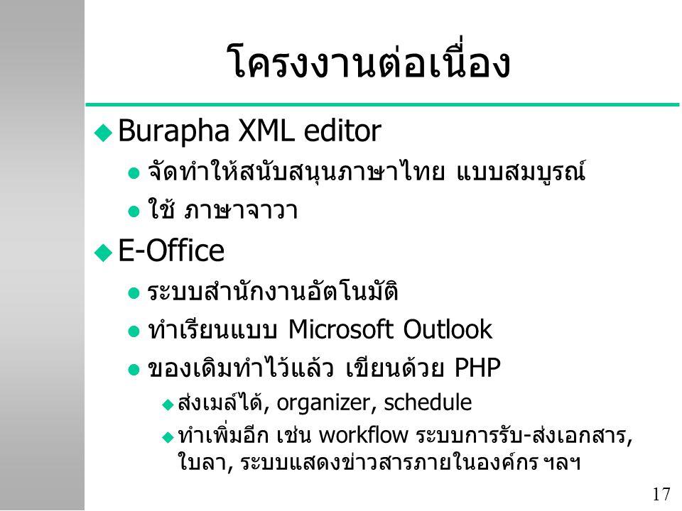 17 โครงงานต่อเนื่อง u Burapha XML editor l จัดทำให้สนับสนุนภาษาไทย แบบสมบูรณ์ l ใช้ ภาษาจาวา u E-Office l ระบบสำนักงานอัตโนมัติ l ทำเรียนแบบ Microsoft
