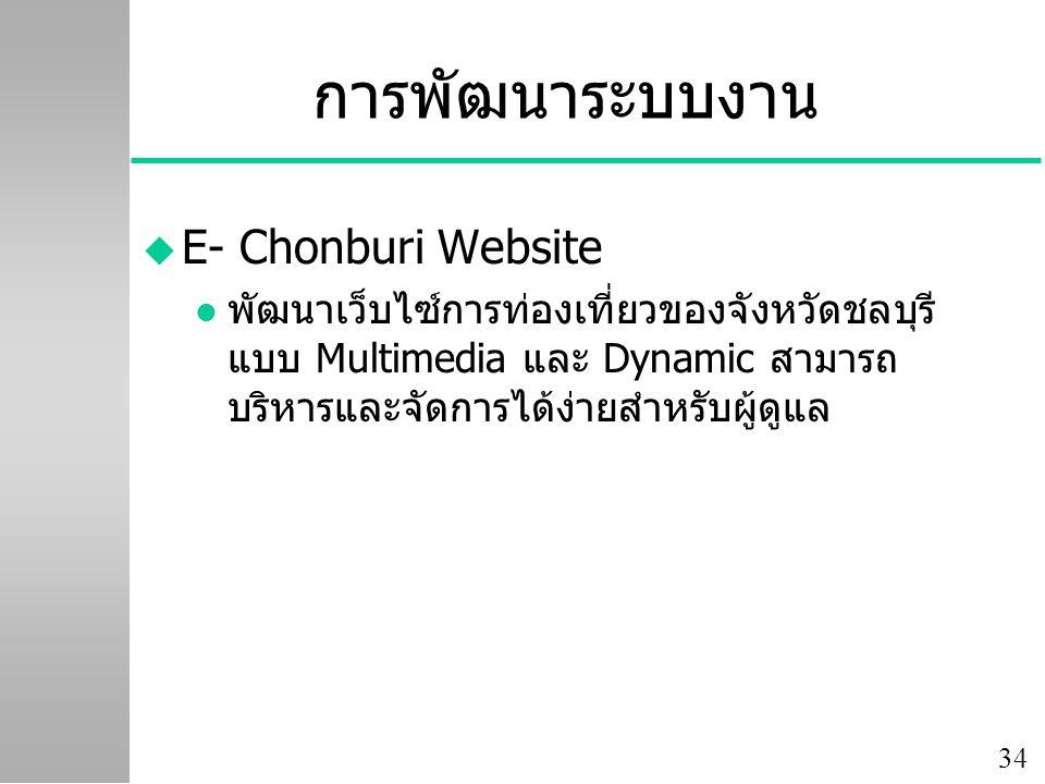 34 การพัฒนาระบบงาน u E- Chonburi Website l พัฒนาเว็บไซ์การท่องเที่ยวของจังหวัดชลบุรี แบบ Multimedia และ Dynamic สามารถ บริหารและจัดการได้ง่ายสำหรับผู้