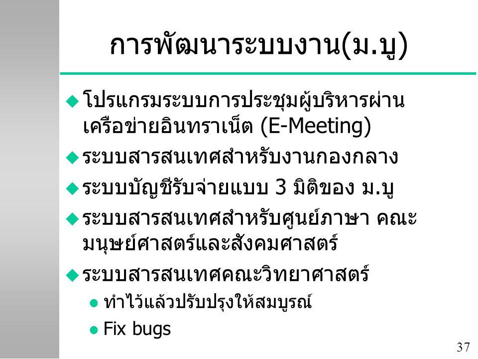 37 การพัฒนาระบบงาน(ม.บู) u โปรแกรมระบบการประชุมผู้บริหารผ่าน เครือข่ายอินทราเน็ต (E-Meeting) u ระบบสารสนเทศสำหรับงานกองกลาง u ระบบบัญชีรับจ่ายแบบ 3 มิติของ ม.บู u ระบบสารสนเทศสำหรับศูนย์ภาษา คณะ มนุษย์ศาสตร์และสังคมศาสตร์ u ระบบสารสนเทศคณะวิทยาศาสตร์ l ทำไว้แล้วปรับปรุงให้สมบูรณ์ l Fix bugs