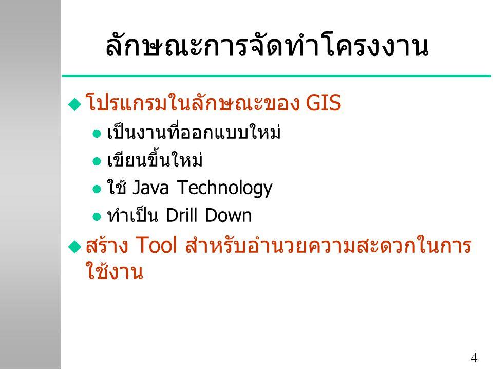 4 ลักษณะการจัดทำโครงงาน u โปรแกรมในลักษณะของ GIS l เป็นงานที่ออกแบบใหม่ l เขียนขึ้นใหม่ l ใช้ Java Technology l ทำเป็น Drill Down u สร้าง Tool สำหรับอำนวยความสะดวกในการ ใช้งาน