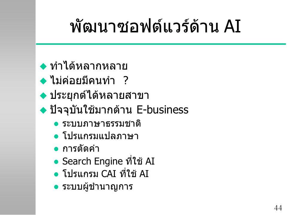 44 พัฒนาซอฟต์แวร์ด้าน AI u ทำได้หลากหลาย u ไม่ค่อยมีคนทำ ? u ประยุกต์ได้หลายสาขา u ปัจจุบันใช้มากด้าน E-business l ระบบภาษาธรรมชาติ l โปรแกรมแปลภาษา l