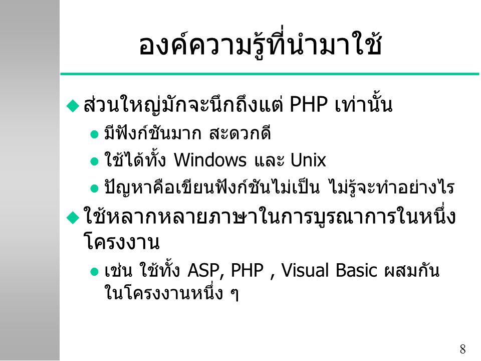8 องค์ความรู้ที่นำมาใช้ u ส่วนใหญ่มักจะนึกถึงแต่ PHP เท่านั้น l มีฟังก์ชันมาก สะดวกดี l ใช้ได้ทั้ง Windows และ Unix l ปัญหาคือเขียนฟังก์ชันไม่เป็น ไม่รู้จะทำอย่างไร u ใช้หลากหลายภาษาในการบูรณาการในหนึ่ง โครงงาน l เช่น ใช้ทั้ง ASP, PHP, Visual Basic ผสมกัน ในโครงงานหนึ่ง ๆ
