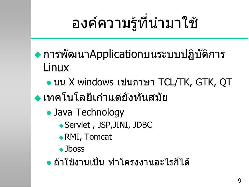 9 องค์ความรู้ที่นำมาใช้ u การพัฒนาApplicationบนระบบปฏิบัติการ Linux l บน X windows เช่นภาษา TCL/TK, GTK, QT u เทคโนโลยีเก่าแต่ยังทันสมัย l Java Technology u Servlet, JSP,JINI, JDBC u RMI, Tomcat u Jboss l ถ้าใช้งานเป็น ทำโครงงานอะไรก็ได้