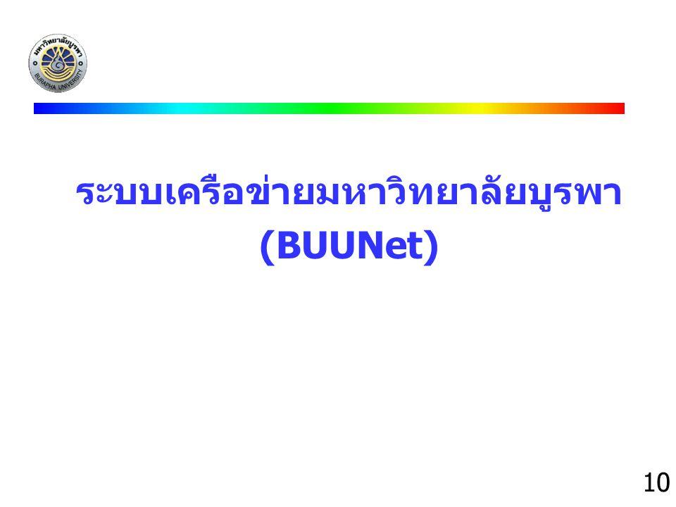 10 ระบบเครือข่ายมหาวิทยาลัยบูรพา (BUUNet)