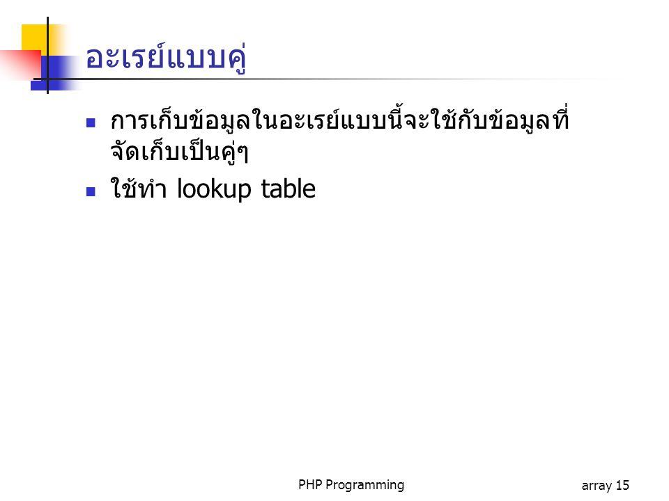 PHP Programmingarray 15 อะเรย์แบบคู่ การเก็บข้อมูลในอะเรย์แบบนี้จะใช้กับข้อมูลที่ จัดเก็บเป็นคู่ๆ ใช้ทำ lookup table