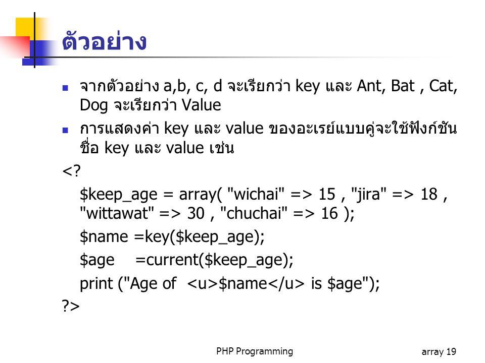 PHP Programmingarray 19 ตัวอย่าง จากตัวอย่าง a,b, c, d จะเรียกว่า key และ Ant, Bat, Cat, Dog จะเรียกว่า Value การแสดงค่า key และ value ของอะเรย์แบบคู่