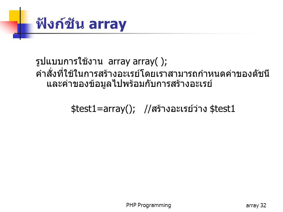 PHP Programmingarray 32 ฟังก์ชัน array รูปแบบการใช้งาน array array( ); คำสั่งที่ใช้ในการสร้างอะเรย์โดยเราสามารถกำหนดค่าของดัชนี และค่าของข้อมูลไปพร้อม
