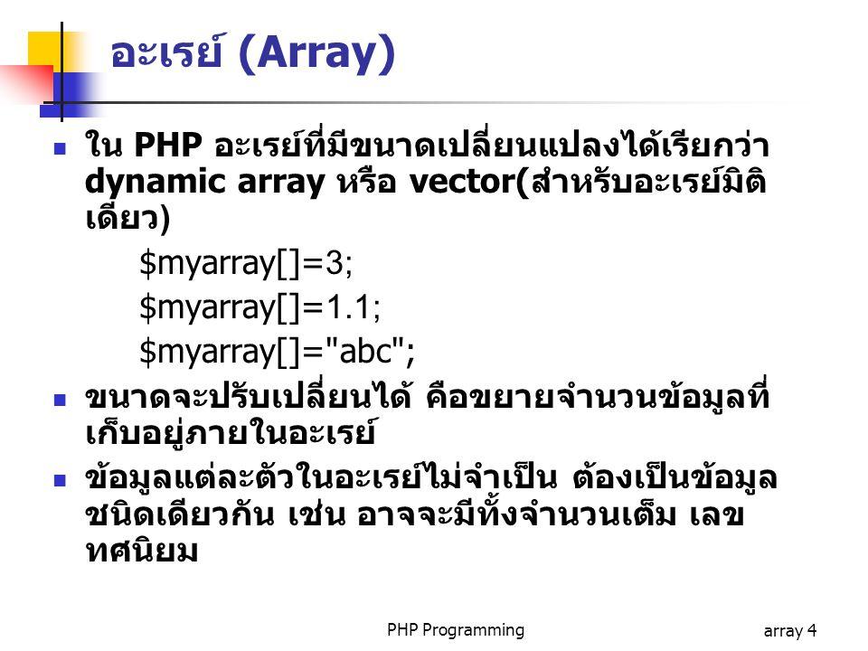 PHP Programmingarray 4 อะเรย์ (Array) ใน PHP อะเรย์ที่มีขนาดเปลี่ยนแปลงได้เรียกว่า dynamic array หรือ vector(สำหรับอะเรย์มิติ เดียว) $myarray[]=3; $myarray[]=1.1; $myarray[]= abc ; ขนาดจะปรับเปลี่ยนได้ คือขยายจำนวนข้อมูลที่ เก็บอยู่ภายในอะเรย์ ข้อมูลแต่ละตัวในอะเรย์ไม่จำเป็น ต้องเป็นข้อมูล ชนิดเดียวกัน เช่น อาจจะมีทั้งจำนวนเต็ม เลข ทศนิยม
