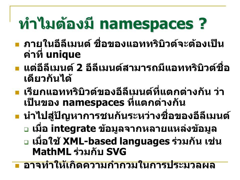 ทำไมต้องมี namespaces ? ภายในอีลีเมนต์ ชื่อของแอททริบิวต์จะต้องเป็น ค่าที่ unique แต่อีลีเมนต์ 2 อีลีเมนต์สามารถมีแอททริบิวต์ชื่อ เดียวกันได้ เรียกแอท