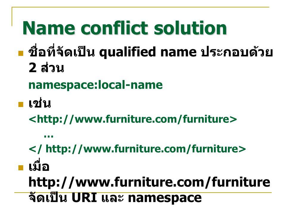 Name conflict solution ชื่อที่จัดเป็น qualified name ประกอบด้วย 2 ส่วน namespace:local-name เช่น … เมื่อ http://www.furniture.com/furniture จัดเป็น UR