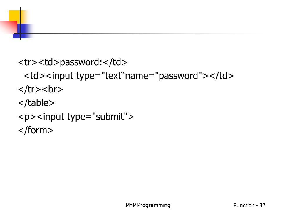 PHP ProgrammingFunction - 32 password: