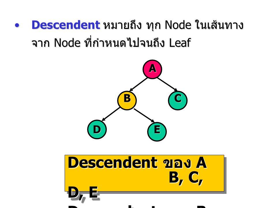 Descendent หมายถึง ทุก Node ในเส้นทาง จาก Node ที่กำหนดไปจนถึง LeafDescendent หมายถึง ทุก Node ในเส้นทาง จาก Node ที่กำหนดไปจนถึง Leaf A BC DE Descend