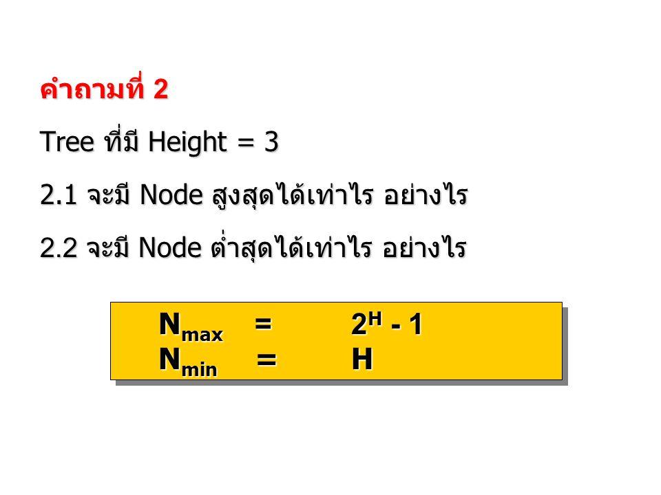 คำถามที่ 2 Tree ที่มี Height = 3 2.1 จะมี Node สูงสุดได้เท่าไร อย่างไร 2.2 จะมี Node ต่ำสุดได้เท่าไร อย่างไร N max =2 H - 1 N min =H N max =2 H - 1 N
