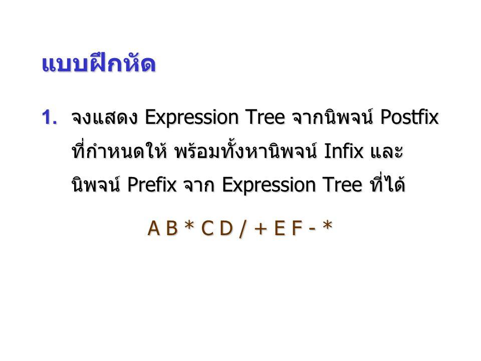 แบบฝึกหัด 1.จงแสดง Expression Tree จากนิพจน์ Postfix ที่กำหนดให้ พร้อมทั้งหานิพจน์ Infix และ นิพจน์ Prefix จาก Expression Tree ที่ได้ A B * C D / + E