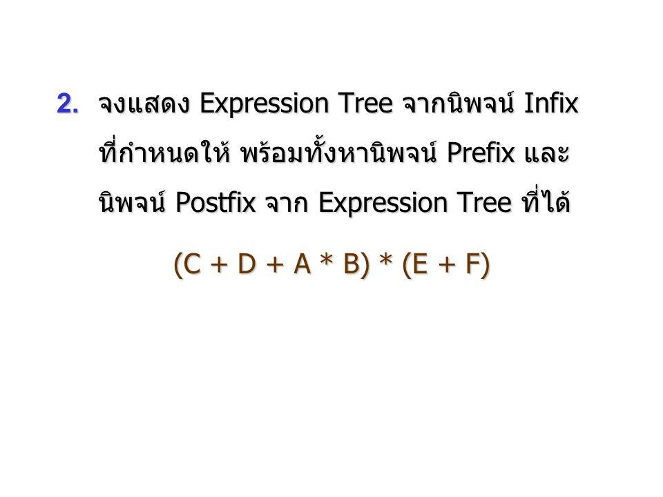 2.จงแสดง Expression Tree จากนิพจน์ Infix ที่กำหนดให้ พร้อมทั้งหานิพจน์ Prefix และ นิพจน์ Postfix จาก Expression Tree ที่ได้ (C + D + A * B) * (E + F)