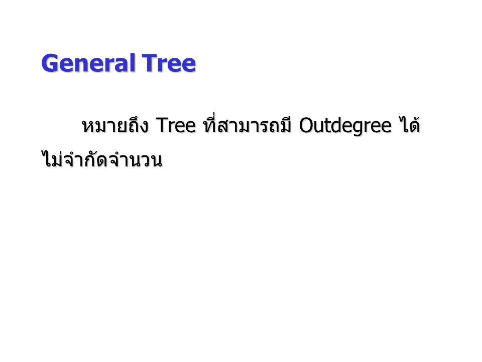 General Tree หมายถึง Tree ที่สามารถมี Outdegree ได้ ไม่จำกัดจำนวน