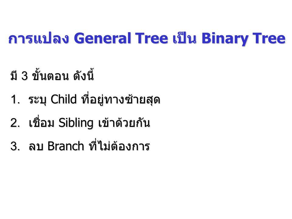 การแปลง General Tree เป็น Binary Tree มี 3 ขั้นตอน ดังนี้ 1.ระบุ Child ที่อยู่ทางซ้ายสุด 2.เชื่อม Sibling เข้าด้วยกัน 3.ลบ Branch ที่ไม่ต้องการ