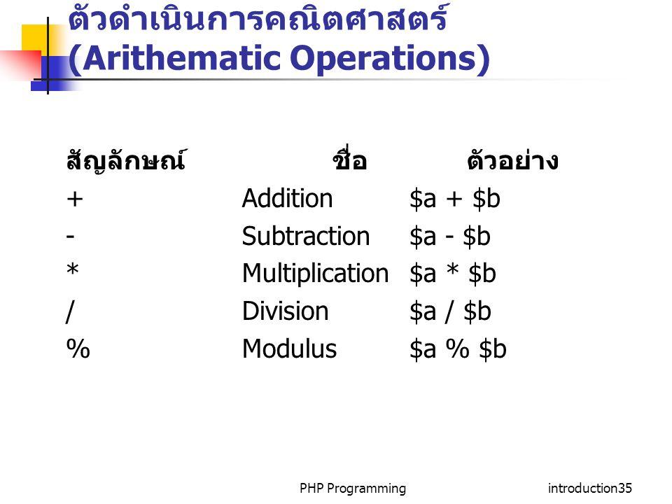 PHP Programmingintroduction35 ตัวดำเนินการคณิตศาสตร์ (Arithematic Operations) สัญลักษณ์ ชื่อ ตัวอย่าง + Addition $a + $b - Subtraction $a - $b * Multi